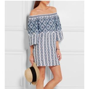 Miguelina OTS blue/white embroidered cover up XS
